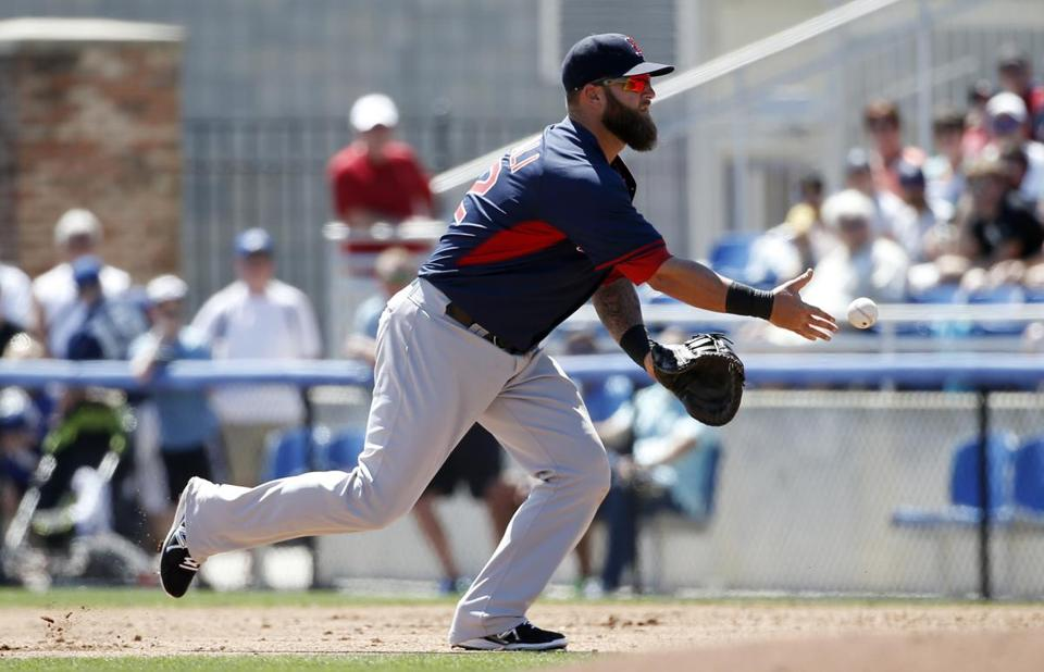 By some measures, Mike Napoli was the best defensive first baseman in the AL last season (AP Photo/Kathy Willens)