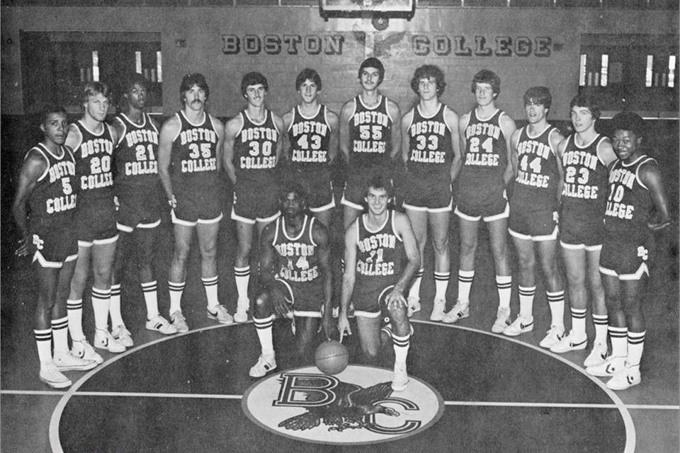 Rick Kuhn (No. 35, fourth from left), Ernie Cobb (No. 14, left in first row), and Jim Sweeney (No. 21, right in first row) were part of the 1978-1979 BC basketball team.
