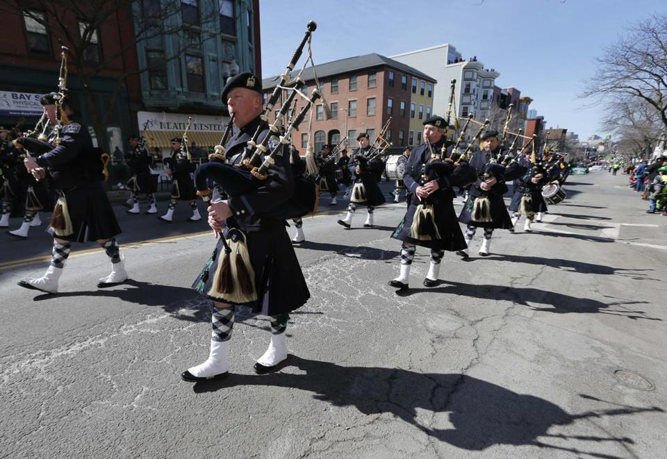 The Boston Police Gaelic Column marched in the St. Patrick's Day parade in South Boston in 2014.