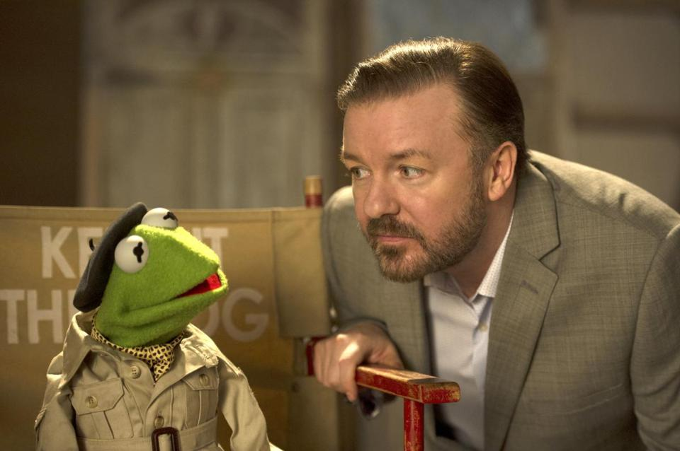 "Kermit the Frog and Ricky Gervais in ""Muppets Most Wanted."""
