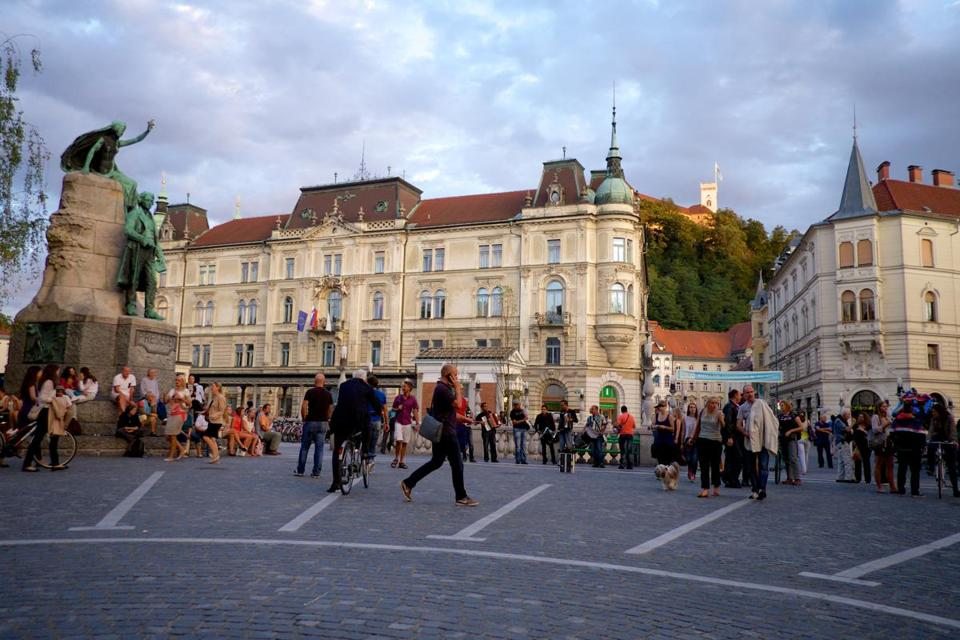 Preseren Square in the capital, Ljubljana, is busy day and night  with performers, tourists, students.