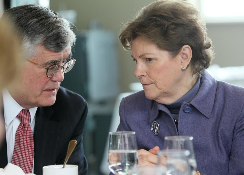 US Senator Jeanne Shaheen with UNH Law School dean John T. Broderick Jr. at a luncheon this week.