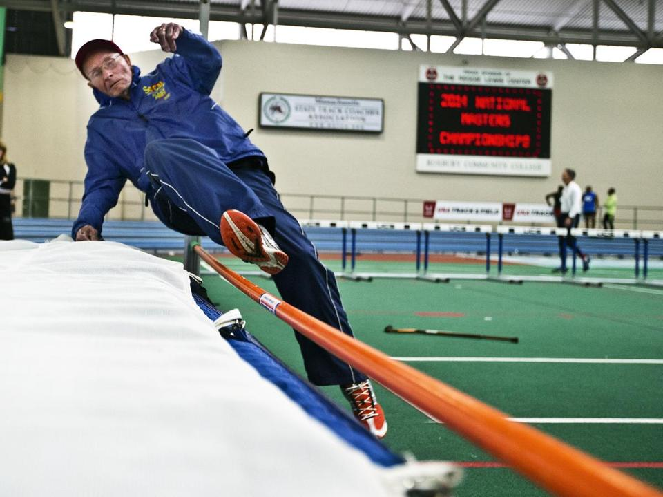 Leland McPhie, 100, attempted to clear the bar at a practice during the USA Track and Field Masters Indoor Championships.
