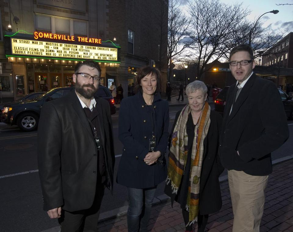 "From left: Brian Deane, director of ""Volkswagen Joe,'' Dawn Morrissey, director of the Irish Film Festival Boston, actress Ruth McCabe, and Eamonn Cleary, editor of ""Volkswagen Joe,'' in Somerville Thursday night."