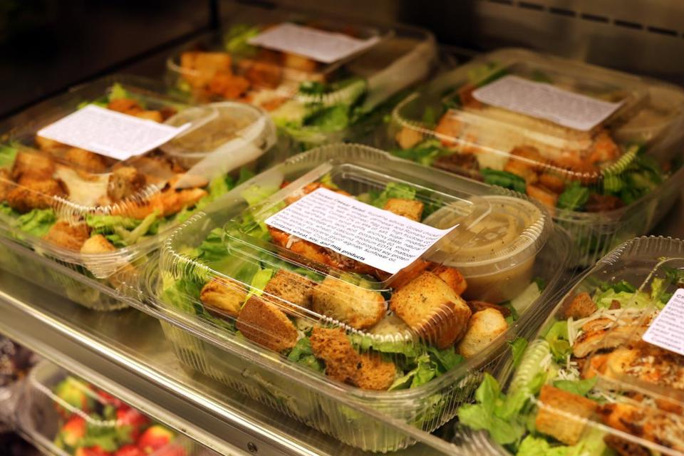 Healthy patient meals at Spaulding Rehab Hospital include salads in the cafe.