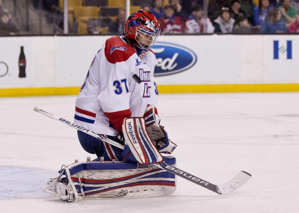 If Connor Hellebuyck can shut out his River Hawks teammates in practice, he can do the same against the rest of the competition. (Matthew J. Lee/Globe staff)