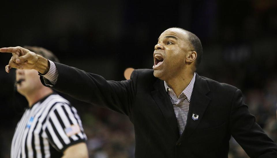 Harvard coach Tommy Amaker, shown directing his team in Saturday night's NCAA Tournament loss to Michigan State, has been rumored to be Boston College's top choice to fill its vacant coaching position.