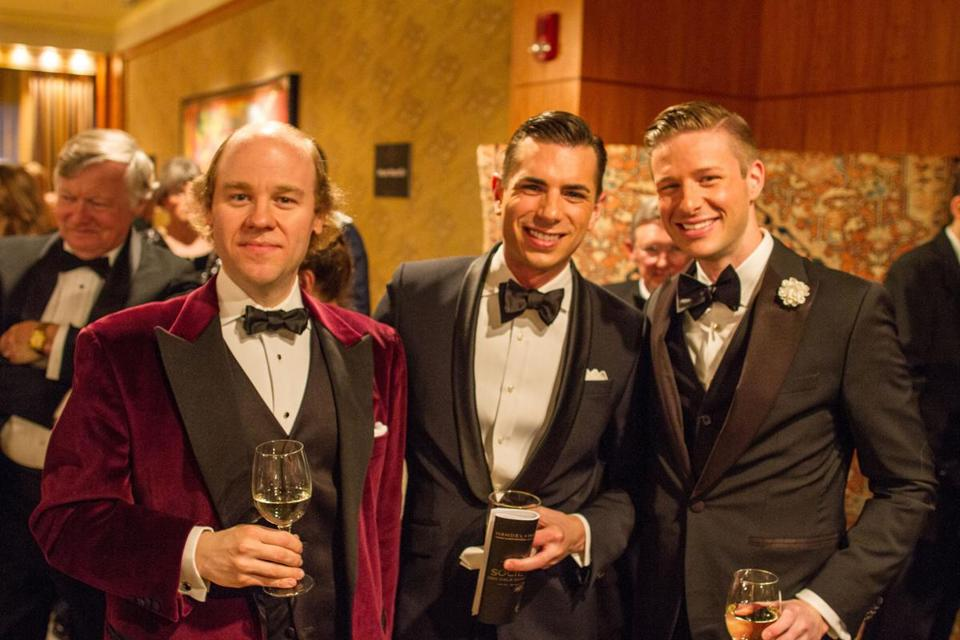 Thatcher Gearhart of Beacon Hill, Michael Oliveri of the Handel and Haydn Society Board of Overseers, and Adam Oliveri, a Society Ball Committee member at the event.