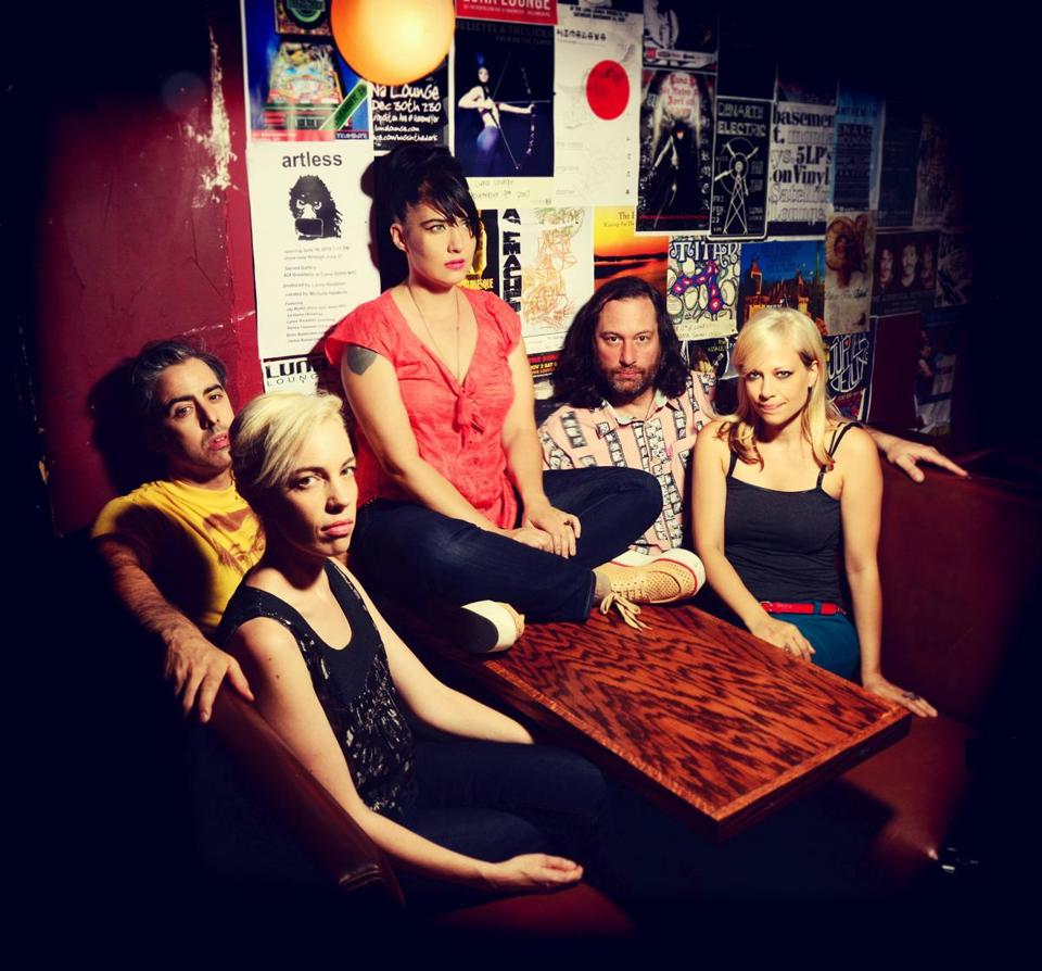 From left: Carmine Covelli, Kathi Wilcox, Kathleen Hanna, Kenny Mellman, and Sara Landeau of the Julie Ruin.