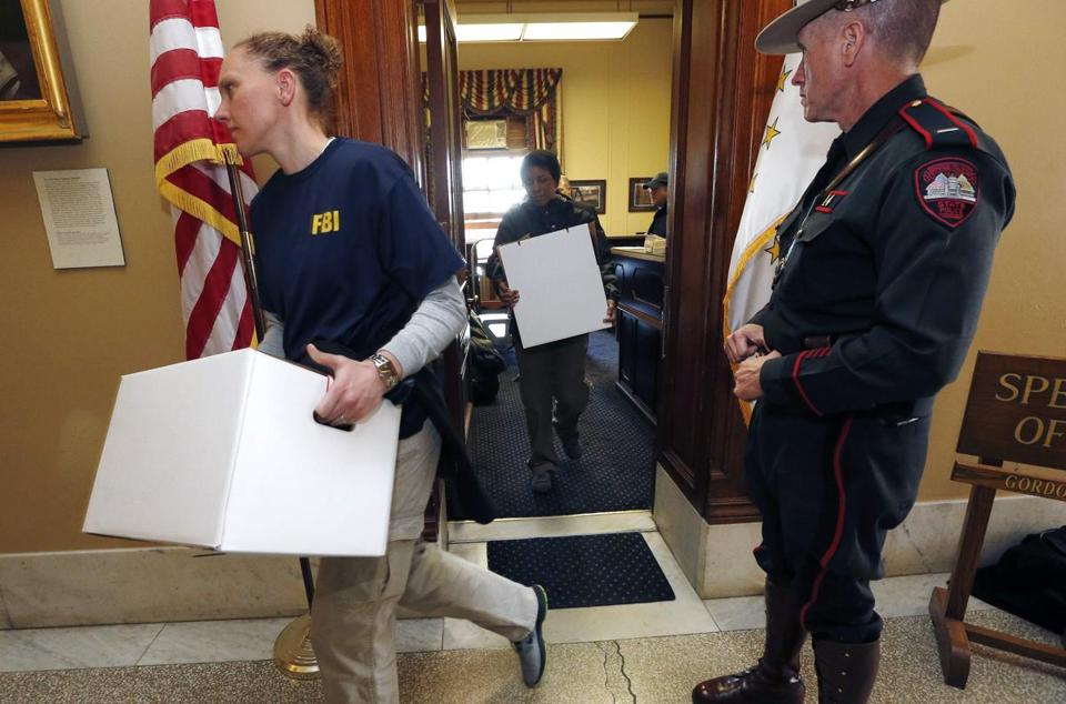 FBI investigators left the State House office of Gordon Fox with boxes of evidence last week.