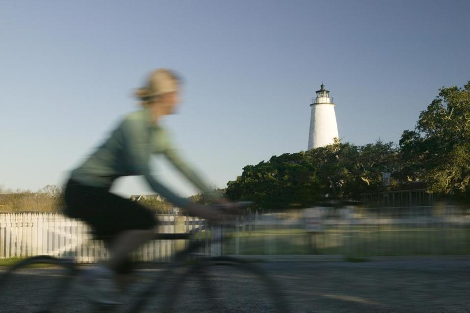 One of a biker's sights is Ocracoke Light, restored in 1823 from the original lighthouse and still working.