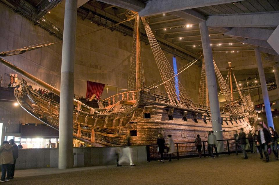The Swedish royal warship Vasa (left; a scale model below) was launched after three years' work in 1628. It sailed less than a mile before starting to list and finally sink, killing 30 of the people onboard. It was raised from Stockholm's harbor in 1961, the Vasa Museum opened in 1990, and since then millions of people have seen the still-decaying ship built as a grand signal of Sweden's regional ambitions.