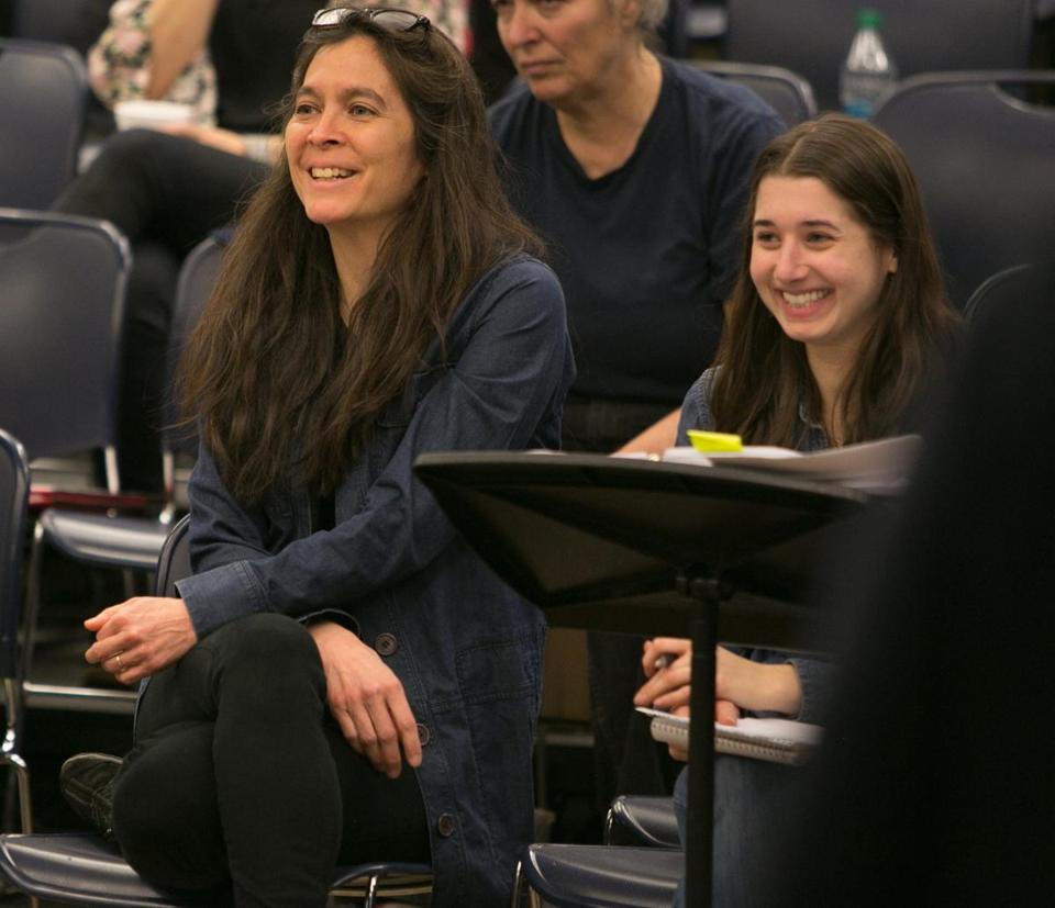 "American Repertory Theater artistic director Diane Paulus, left, at a ""Finding Neverland"" workshop in New York with Mia Walker, assistant director."