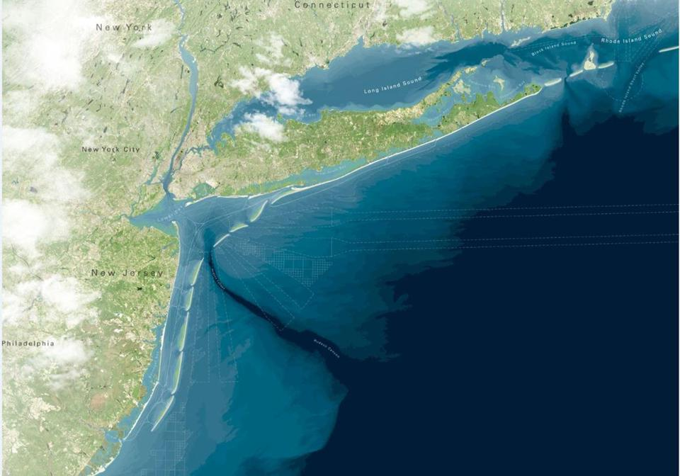 An artistic rendering shows a proposal to create a string of artificial barrier islands off the coast of New York and New Jersey to protect the shoreline from another super storm.