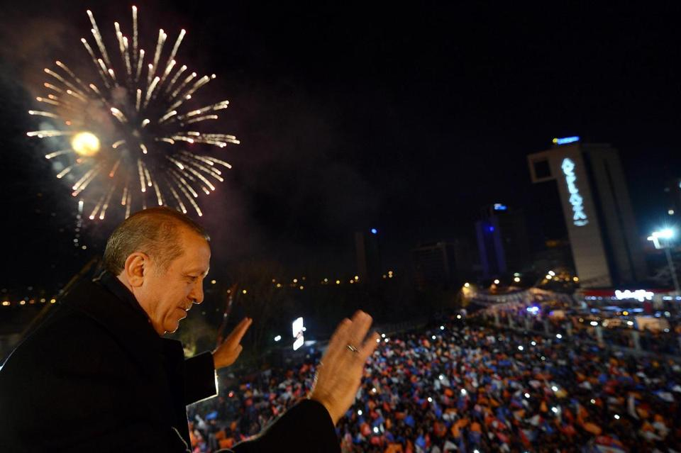Turkey's Prime Minister Tayyip Erdogan greeted his supporters in Ankara on Sunday.