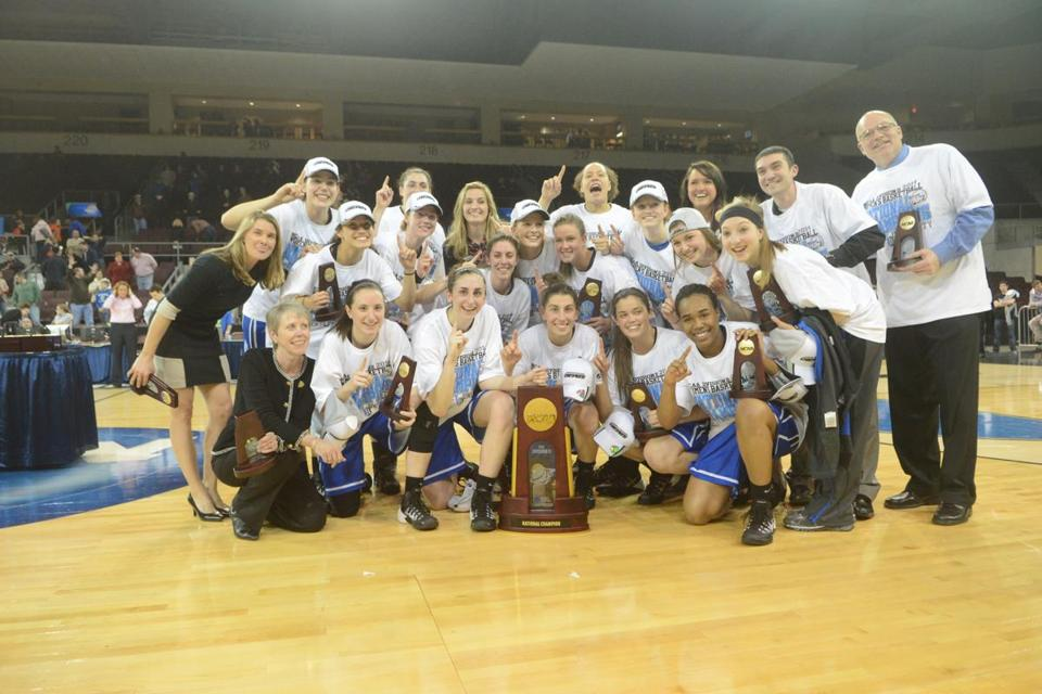 The Bentley University women's basketball team celebrating its Division 2 national championship — a first for the school — on March 28 in Erie, Pa.