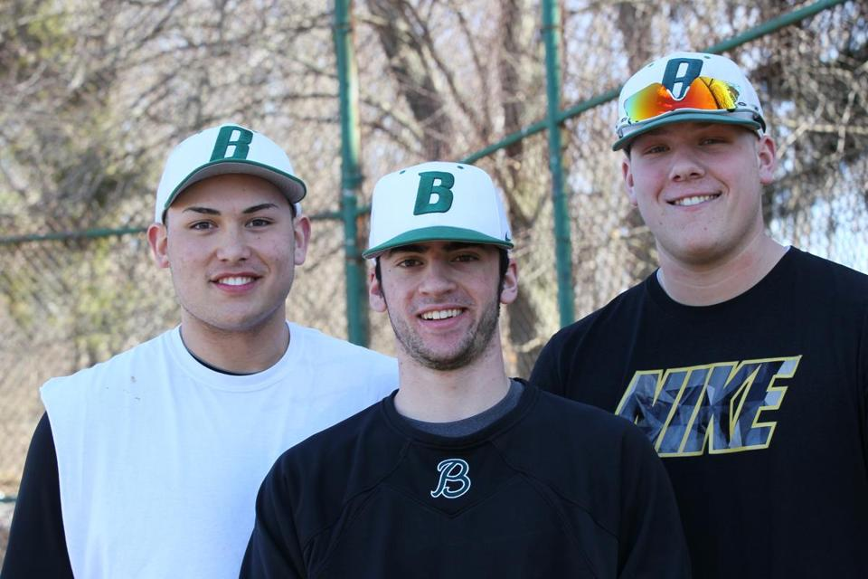 The Billerica boys' baseball team, led this year by captains (from left) Eric Eknaian, Rob Gambale, and Chris Murphy, are the defending Division 1 champions.