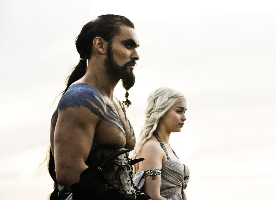 "Dothraki speakers: Khal Drogo (Jason Momoa) and Daenerys Targaryen (Emilia Clarke). Khal Drogo: ""Ma ishish me atthirarido. Atthirarido che yeri che anni… Anha vo nesok. Jini qafe ha mahrazhea ville ma qorasoa reddi."" Translation: ""Or maybe it is a dream. Your dream, my dream… I do not know. These are questions for wise men with skinny arms."""