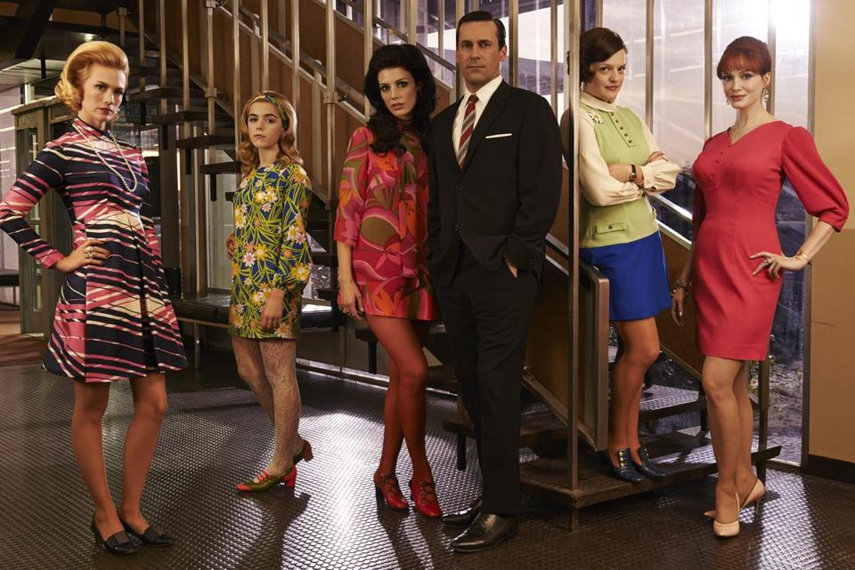 "From left, Betty Francis (January Jones), Sally Draper (Kiernan Shipka), Megan Draper (Jessica Pare), Don Draper (Jon Hamm), Peggy Olson (Elisabeth Moss) and Joan Harris (Christina Hendricks) in season seven of ""Mad Men."""