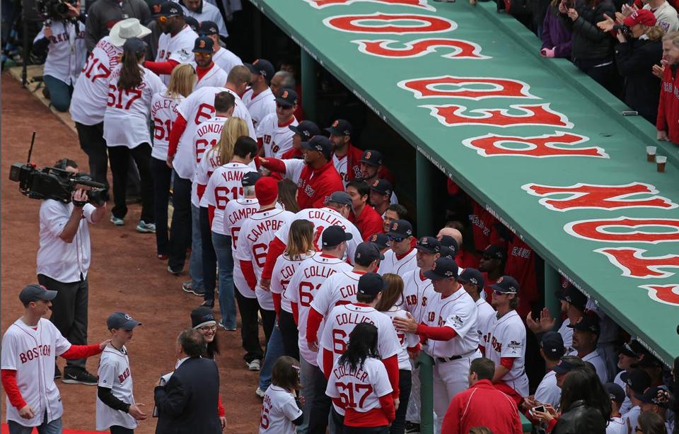 Survivors of the Boston Marathon bombings, and others affected by the tragedy, got to share a few moments with the Red Sox during ceremonies before the home opener.