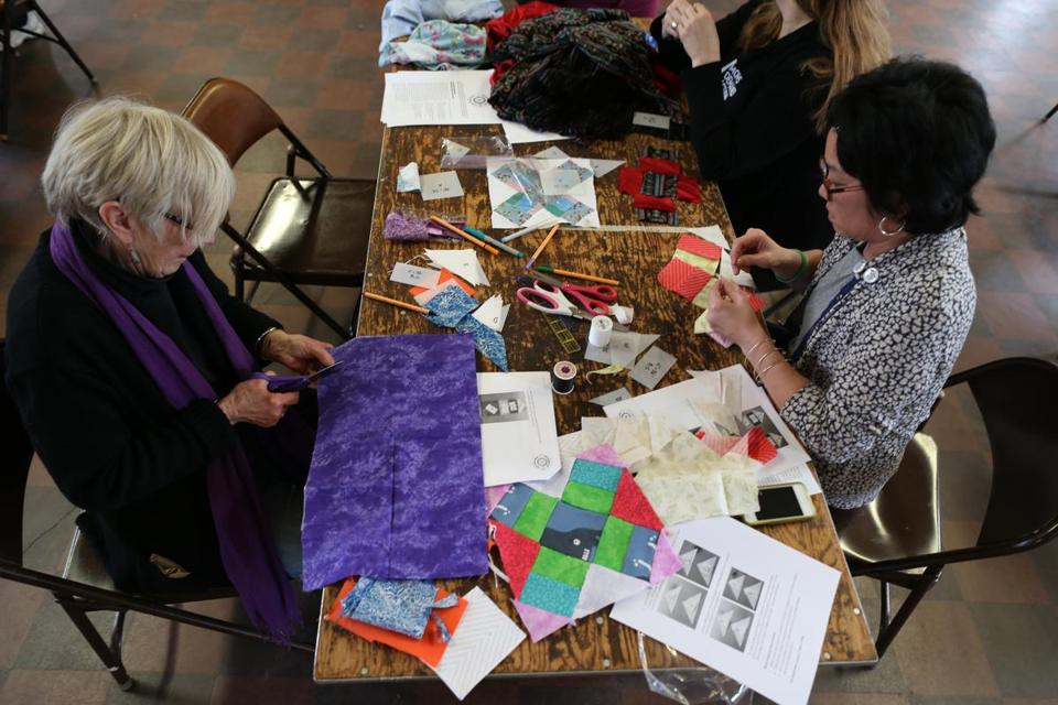 The Massachusetts chapter of Moms Demand Action for Gun Sense in America held a quilting bee in Boston on Saturday.