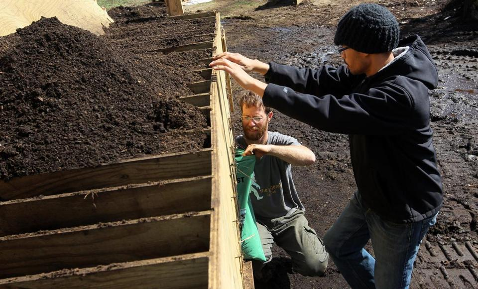 Black Earth Compost collects organics in piles at area farms.