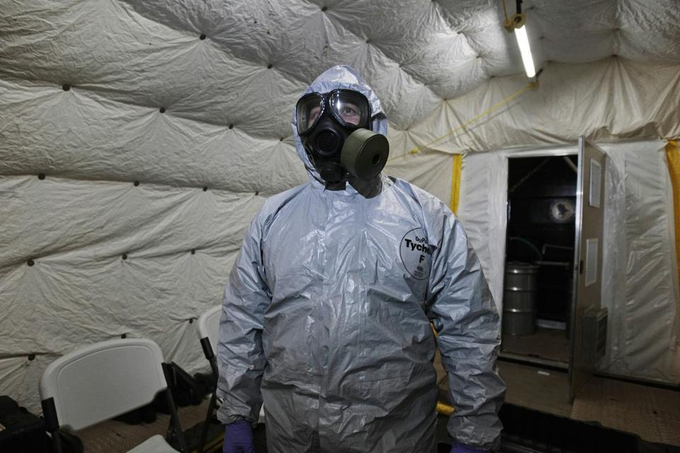 A person would have to have head-to-toe protection and a special mask to safely enter an area where sarin gas had just been released.