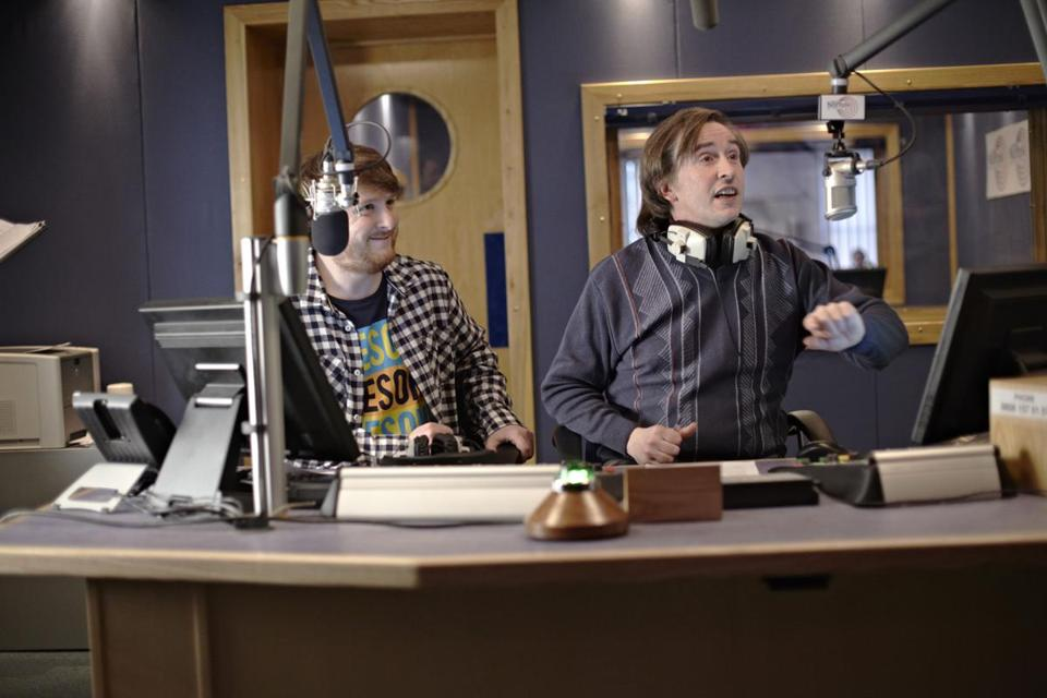 "Steve Coogan (right, with Tim Key) stars as an egotistical radio show host in ""Alan Partridge."""