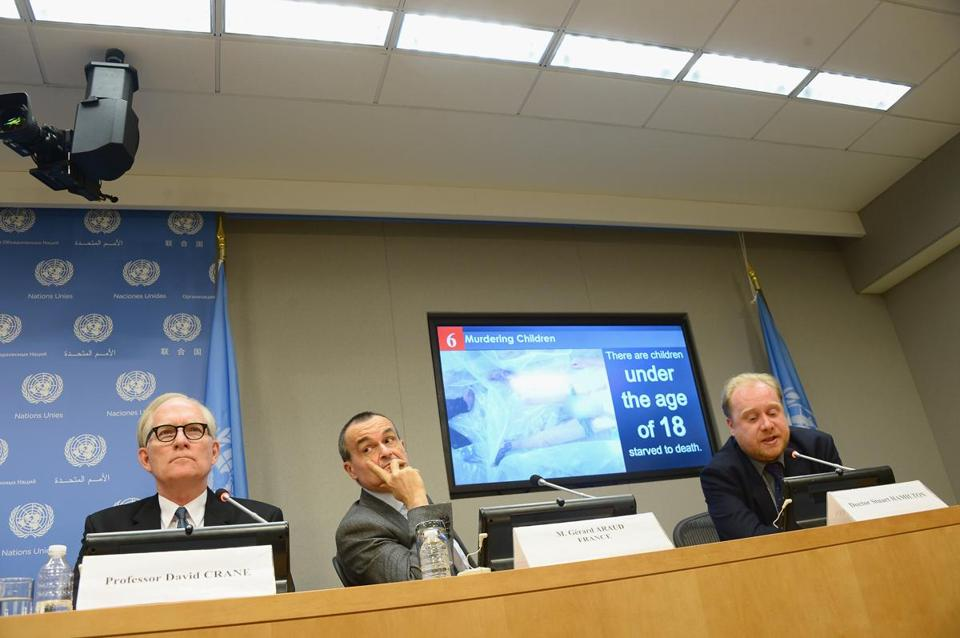 Former Sierra Leone prosecutor David M. Crane, Ambassador Gerard Araud of France, and forensic pathologist Stuart Hamilton presented a report on allegations of torture in Syria.