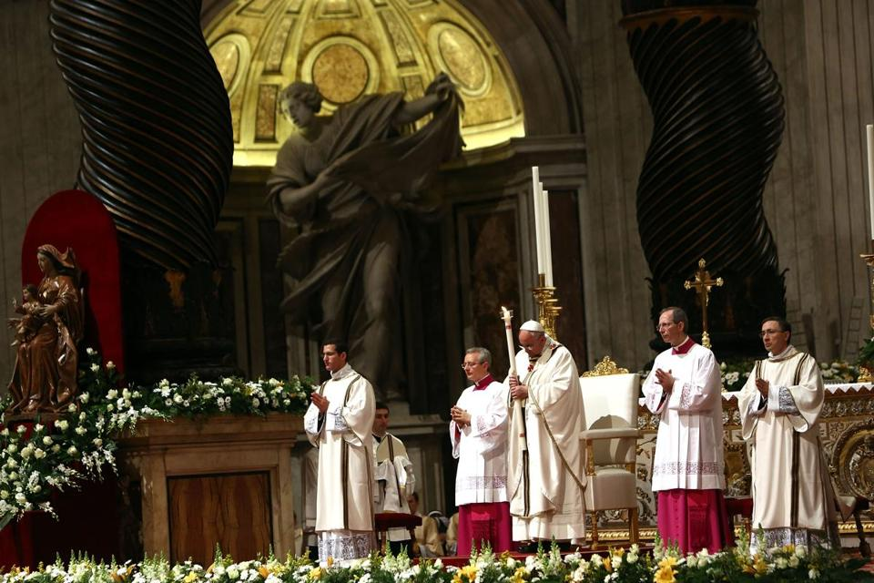 Pope Francis led the Ceremony of the Light during Holy Saturday Easter vigil Mass at St. Peter's Basilica.