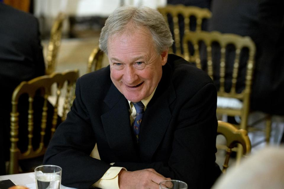 Rhode Island Gov. Lincoln Chafee takes his seat before the arrival of President Barack Obama to speak to the National Governors Association at the White House in Washington, Monday, Feb. 24, 2014. (AP Photo/Jacquelyn Martin)