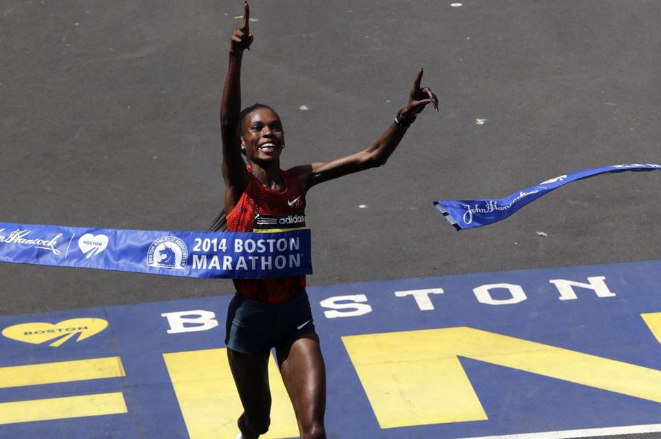 Rita Jeptoo crossed the finish line to win her second straight Boston Marathon.