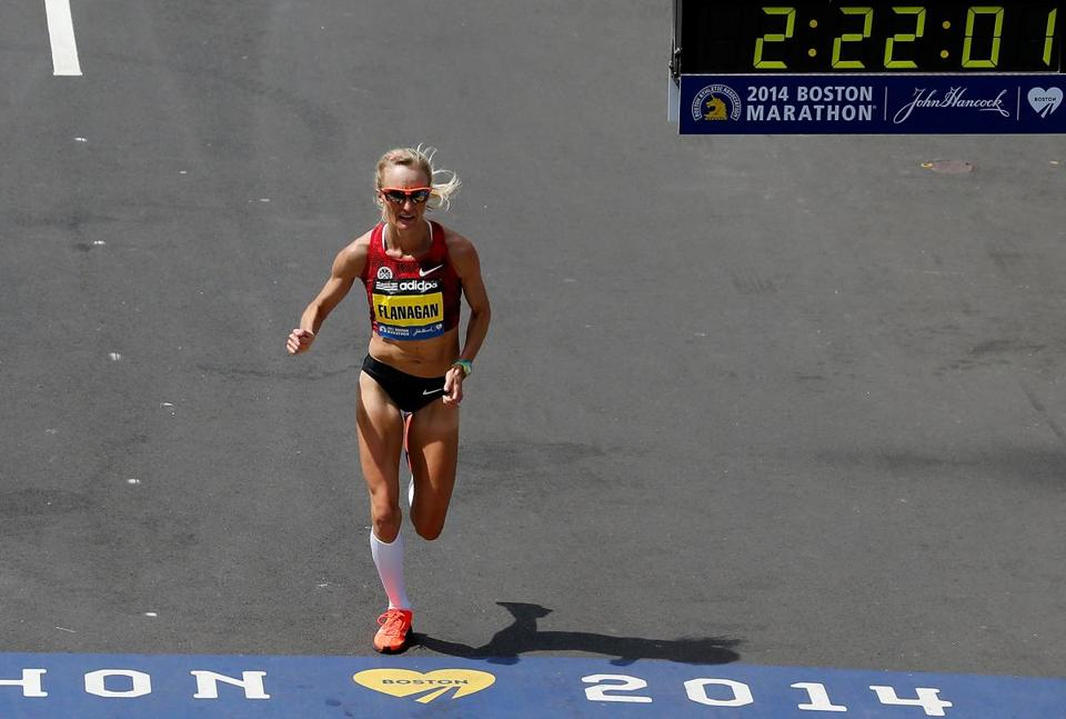 Shalane Flanagan, who graduated from Marblehead High, finished in 2:22:02, the fastest time ever for an American woman on the Boston course.  (Photo by Jim Rogash/Getty Images)