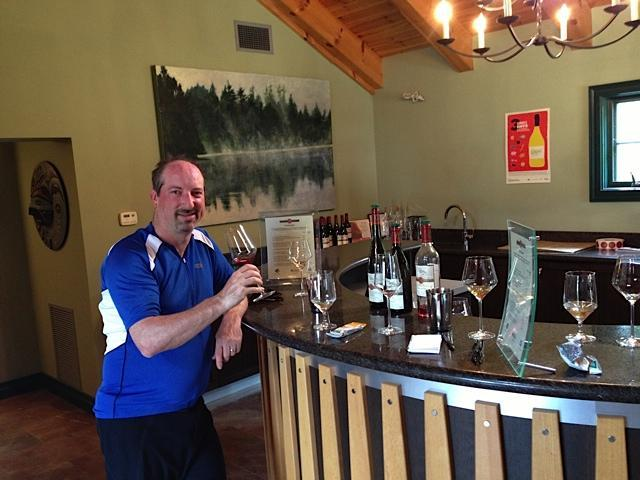 The author and his friend Michael Berger, here sampling some wines  at Hidden Bench Vineyards in Beamsville, biked to vineyards around Jordan, Ontario.