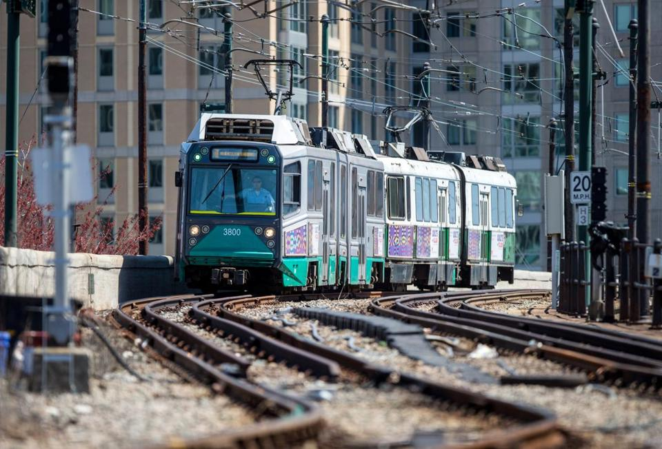 An MBTA Green Line train pulls into Lechmere Station in Cambridge, now the end of its route.