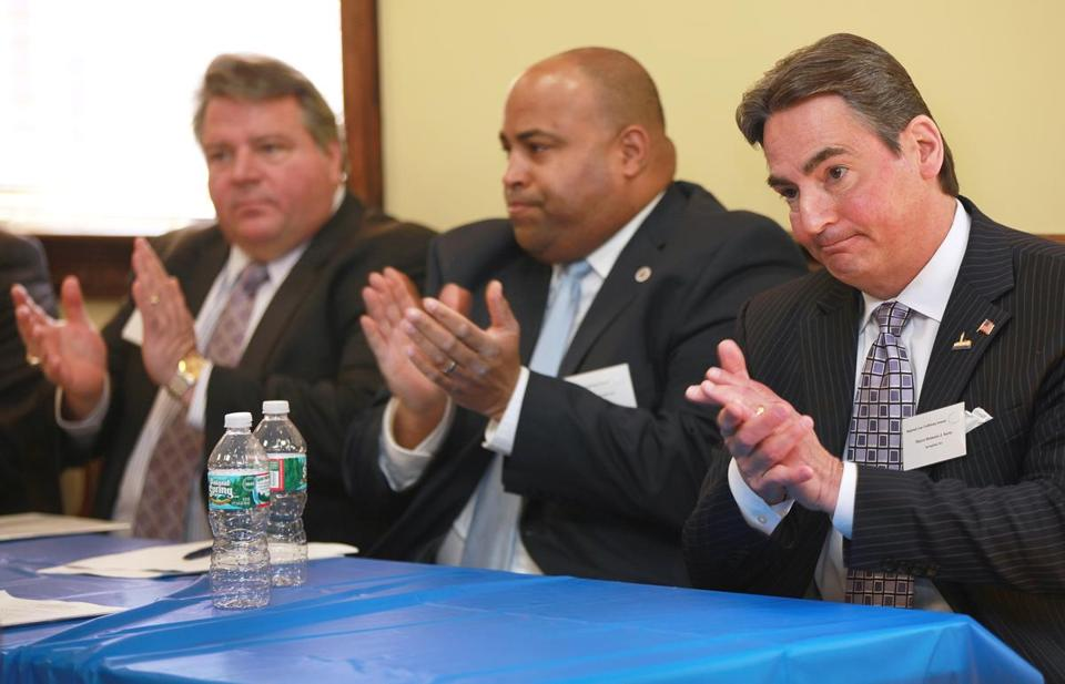 Mayors Daniel Rizzo of Revere (left), Daniel Rivera of Lawrence (center), and Dominic Sarno of Springfield attended the gun summit.