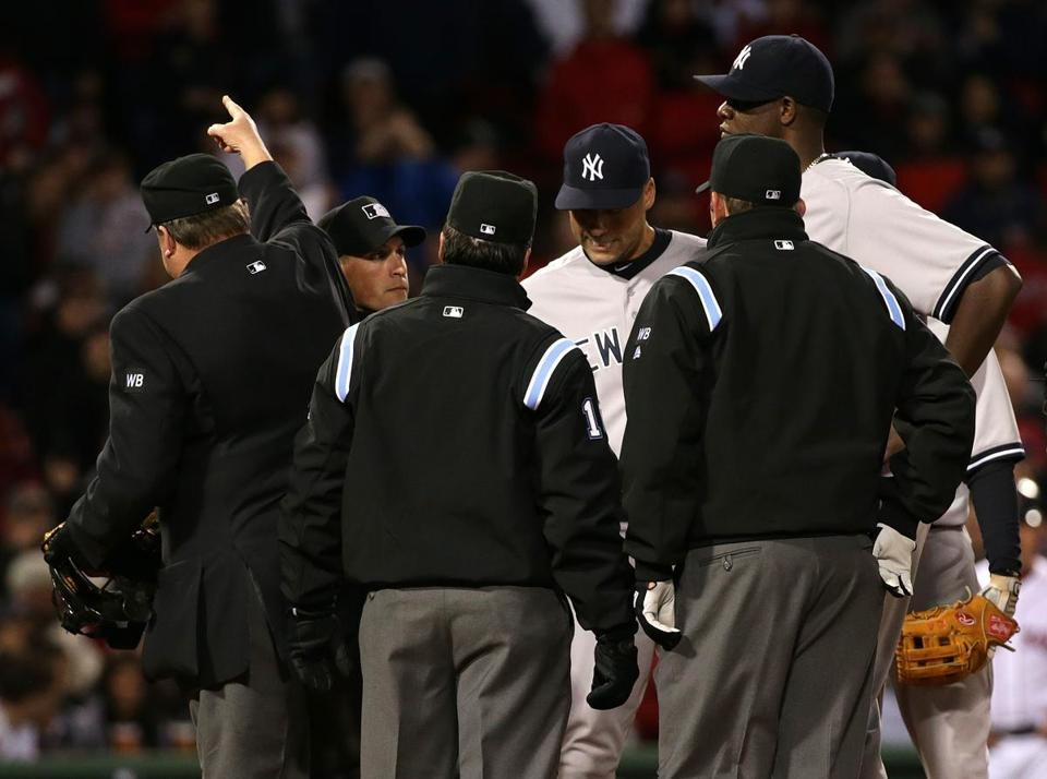 Michael Pineda's ejection Wednesday night has some calling for baseball to overhaul its rules on pine tar use by pitchers. (Barry Chin/Globe Staff).