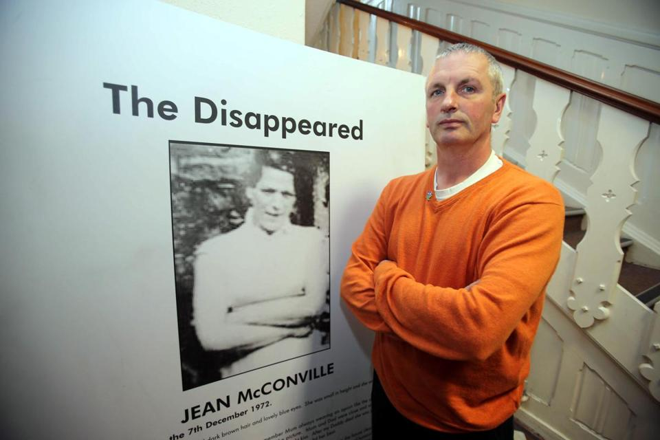 Michael McConville, the son of Jean McConville, who was killed by the IRA in 1972, spoke to reporters at the Wave Trauma Centre in Belfast on Thursday.