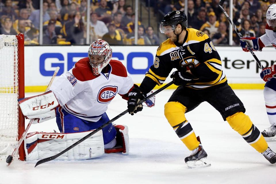 David Krejci kept pressing the Canadiens and Carey Price all night, but had little to show for it.
