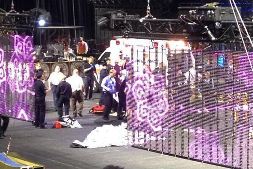 Emergency personnel attended to circus performers who were injured when a metal prop fell during a show.