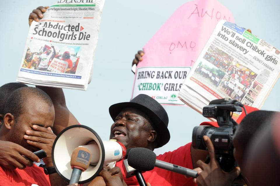 Members of the Chibok community in Abuja, Nigeria, rallied Tuesday to demand action to rescue the schoolgirls.