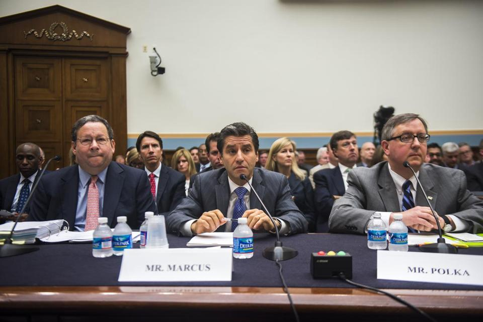 David Cohen of Comcast, Robert Marcus of Time Warner Cable, and Matthew Polka of the American Cable Association testified Thursday before the House antitrust subcommittee.