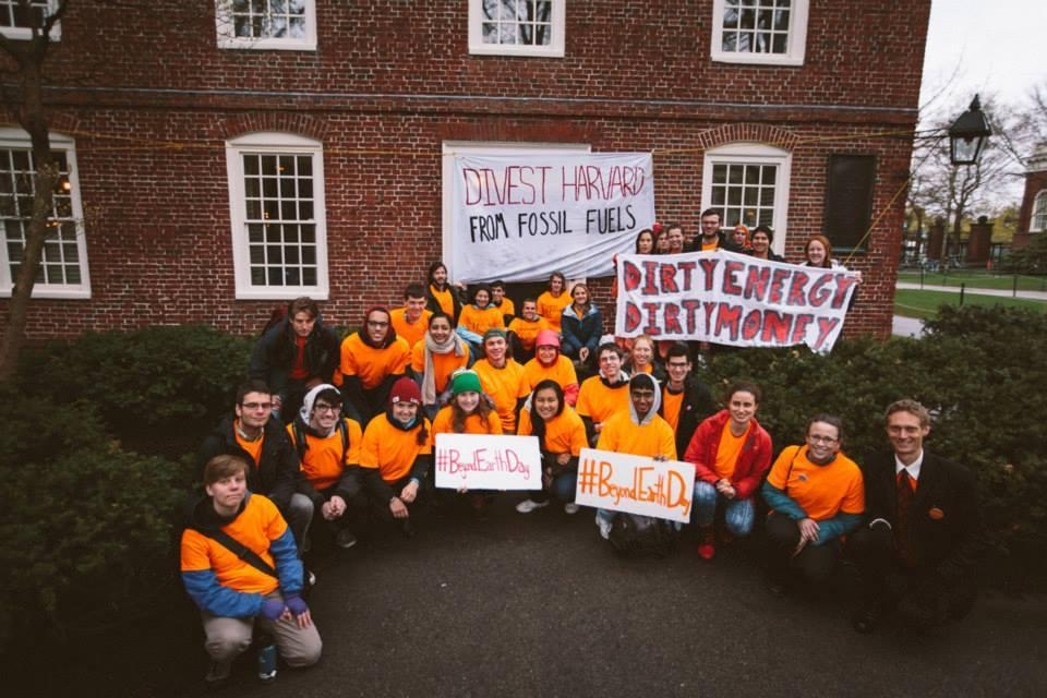 Students from the group Divest Harvard blockaded Massachusetts Hall in an attempt to discuss fossil fuel divestment with university administrators.