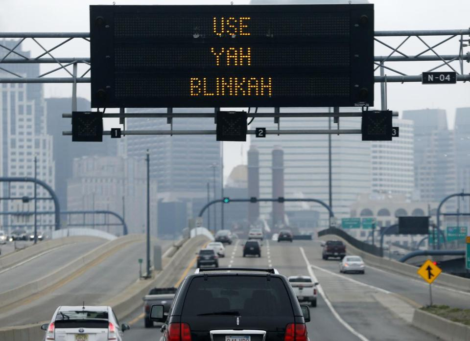 "An electronic highway sign read ""Changing Lanes? Use Yah Blinkah."""