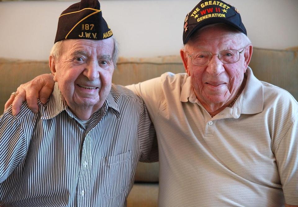 D-day veterans Bernard Glassman and David Rosenthal, now and during the war.