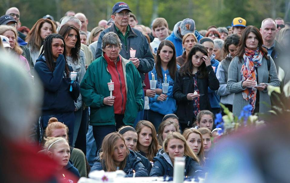 Hundreds of people attended a vigil for Steve Arkell and his family in Brentwood, N.H