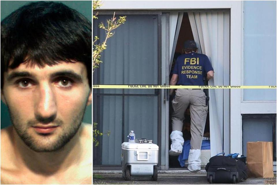 Crime scene technicians and law enforcement officers worked at the complex where Ibragim Todashev (left) was killed last year.