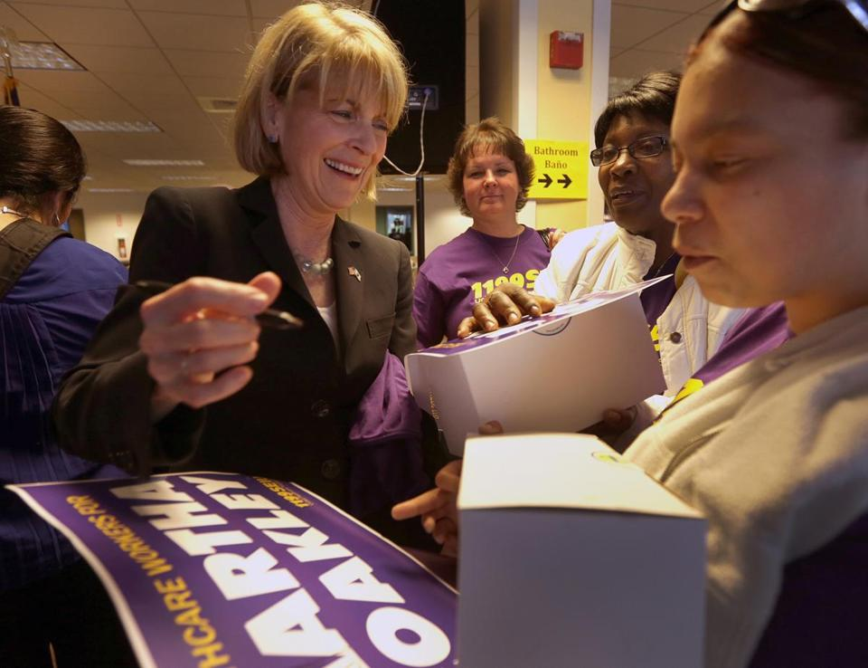 Martha Coakley met supporters at a  union rally.