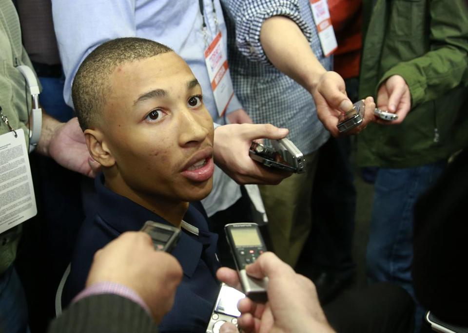 Dante Exum from Australia meets with reporters at the 2014 NBA Draft combine in Chicago on Thursday. (AP Photo/Charles Rex Arbogast)