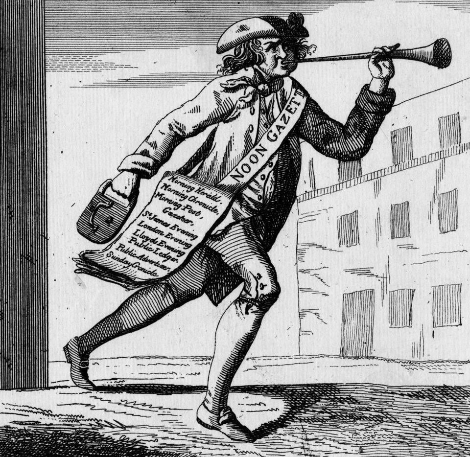 "A cartoon, circa 1780,  captioned ""An Englishman's delight or news of all sorts,"" listing 10 different papers."